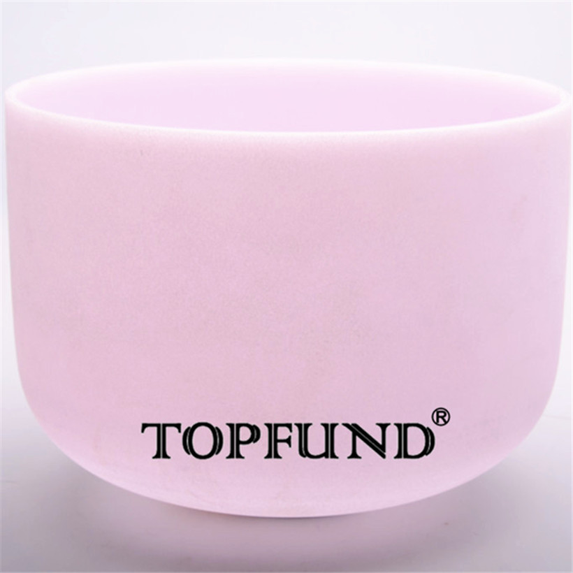 TOPFUND Morganite Fusion E solar plexus Chakra Frosted Quartz Crystal Singing Bowl 12 Wi ...