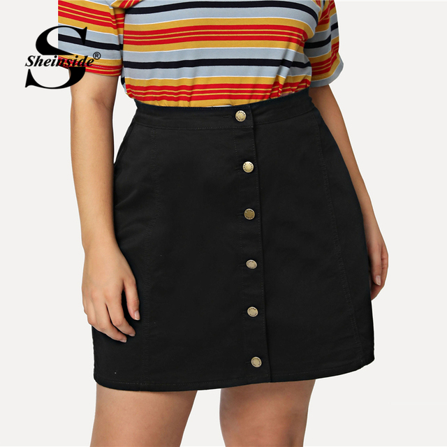 b12d3882d765 Sheinside Plus Size Plain Black High Waist Workwear Skirt Office Ladies Button  Up Denim Stretchy Women