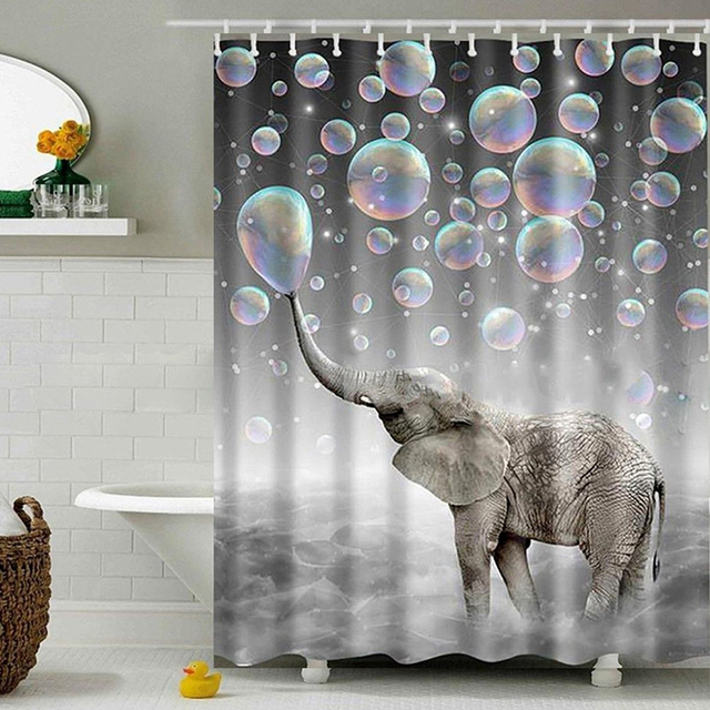 High Quality 1PC Elephant Shower Curtain Personality Digital Printing Bubble