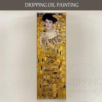 Excellent Artist Reproduce Gustav Klimt Oil Painting Luxury Artwork Woman Wearing Golden Dress Oil Painting for Living Room