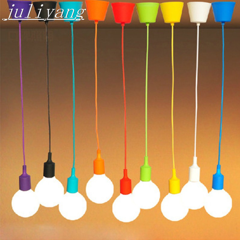 juliyang DIY color braided wire silicone pendant light E27 silicone lamp head cafe decoration color hanging lamp 13 color