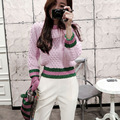 Fashion boutique Lantern Sleeve loose sweater thick new winter red and white gold sweater stripe pearl button short pullovers