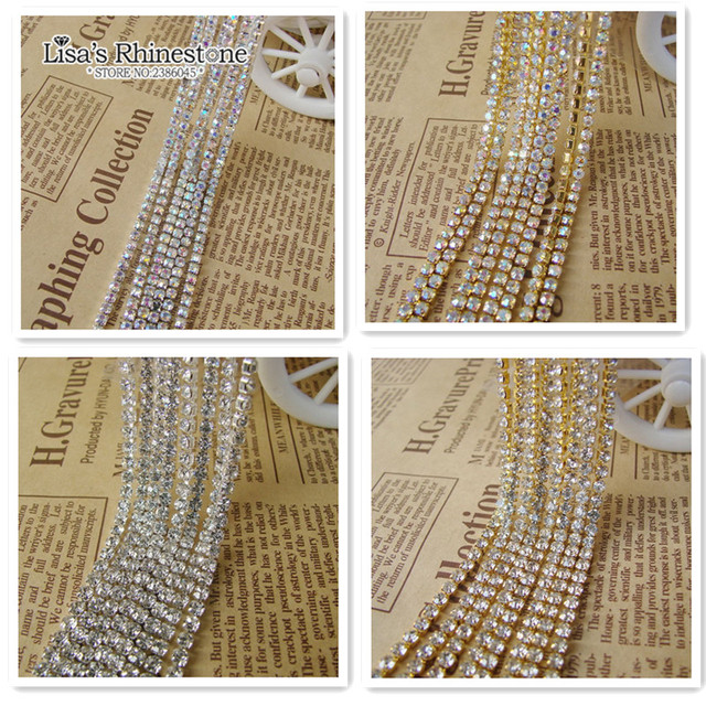 9 Meter SS6 SS8 SS10 SS12 Clear Crystal AB Rhinestone Sparse Chain Sew On  Silver Gold Base Trim DIY Crystal Cup Chains For Dress 7a7c0bfc5247
