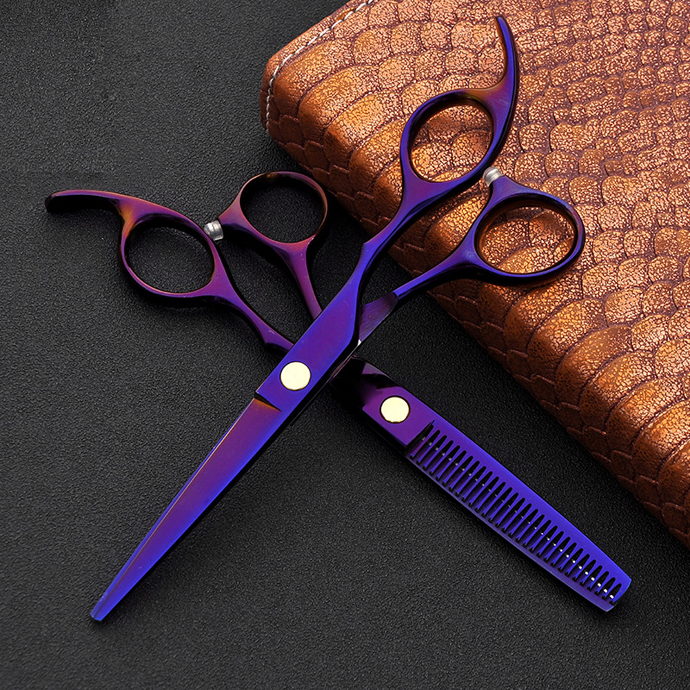 2pcs Japan 440c Hair Scissors For Hairdressers Barber Shop Supplies Titanium Professional Hairdressing Scissors For Cutting Hair