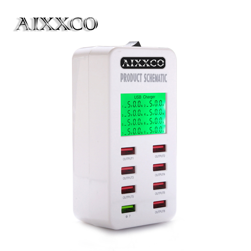 AIXXCO Displayskærm Quick Charge QC3.0 Adapter USB Oplader Smart 8 Port Desktop Oplader Mobiltelefon Rejselader QC2.0