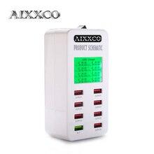 Aixxco Дисплей экрана Quick Charge QC3.0 адаптер USB Зарядное устройство Smart 8 Порты и разъёмы Desktop Зарядное устройство мобильного телефона путешествия Зарядное устройство QC2.0