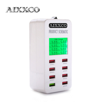 AIXXCO Display screen Quick Charge QC3.0 Adapter USB Charger Smart 8 Port Desktop Charger Mobile Phone Travel Charger QC2.0