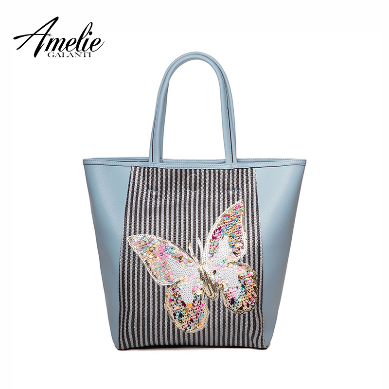 AMELIE GALANTI Fashion Tote Casual Womens Shoulder Handbags Structured Purses Beading Sequined Cartoon Printing Butterfly Patte amelie galanti brand tote handbag