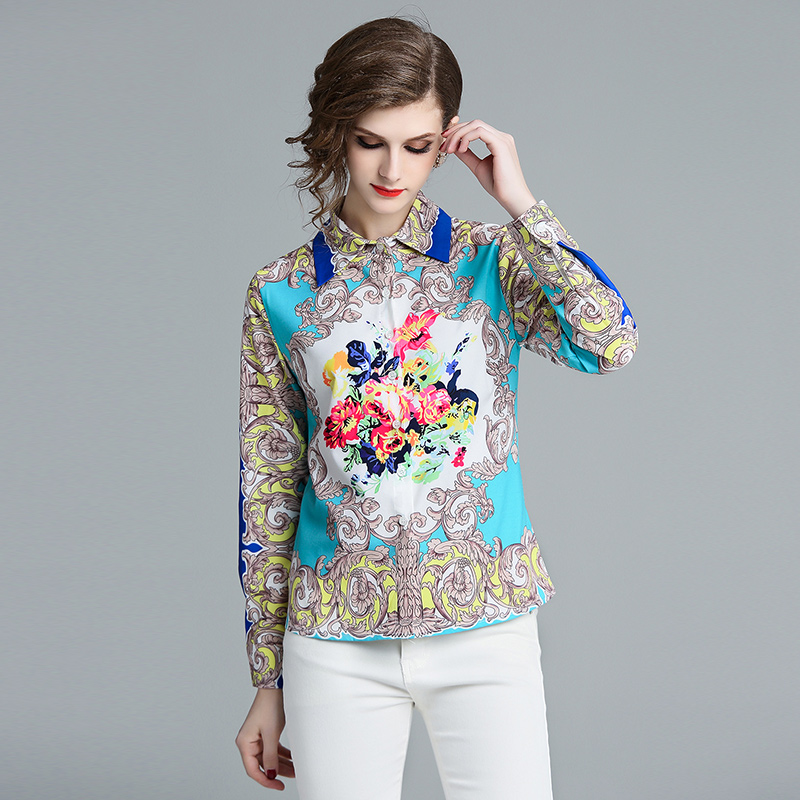 6499852fbfb OL Fashion Full Women s Shirts 2019 Autumn New Luxury Women Flower Print  Lapel Women Designer Floral