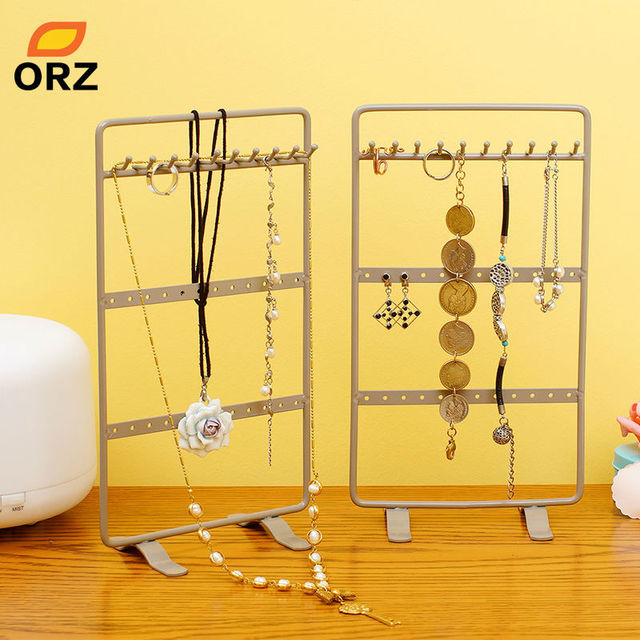 ORZ 2PCSSet Jewelry Accessories Earring Ring Necklace Holder Metal