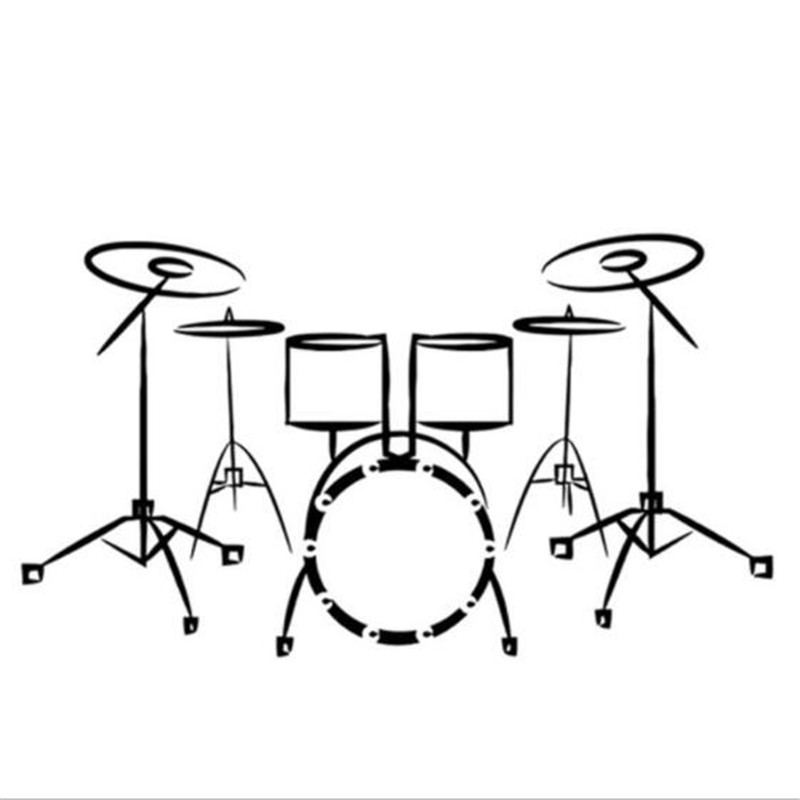 Drummer Evolution Drums Ribbon Group Music Wall Art Sticker Picture
