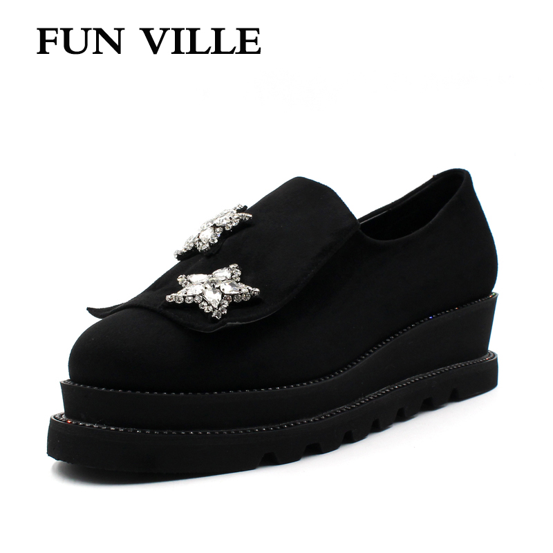 FUN VILLE 2018 New Style Women Flats Spring Summer Flat Platform Casual shoes Flock black Round toe Sexy Ladies shoes size 37-41 flat shoes women pu leather women s loafers 2016 spring summer new ladies shoes flats womens mocassin plus size jan6