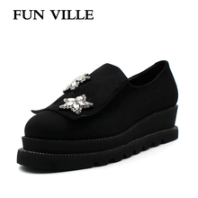 FUN VILLE 2018 New Style Women Flats Spring Summer Flat Platform Casual shoes Flock black Round toe Sexy Ladies size 37-41