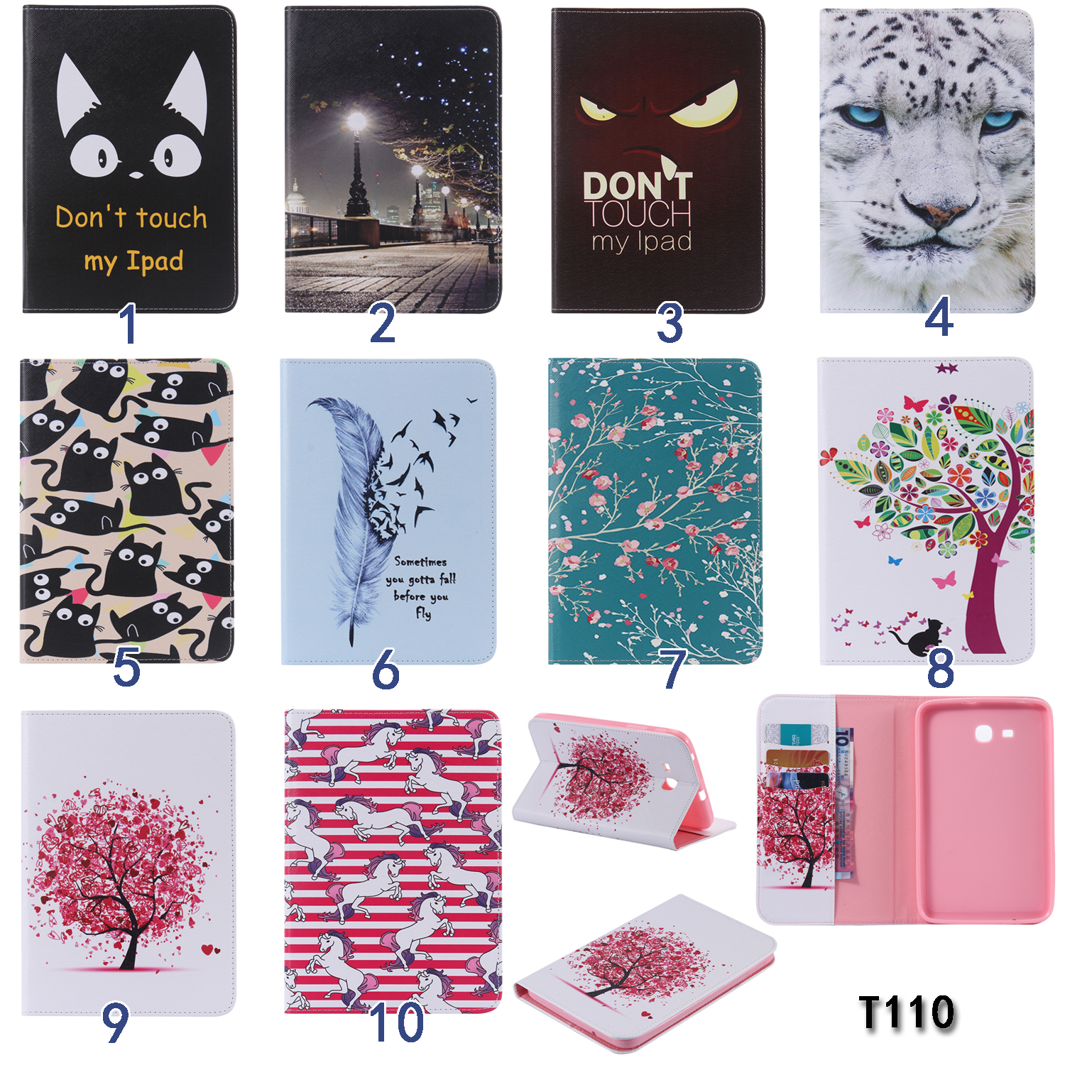 Apricot Tree Horse Feather PU Leather Stand Case Cover For Samsung Galaxy Tab 3 Lite 7.0 T110 T111 7'' tablet  for t113 t116