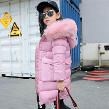 30 Celsius Winter Girls Cotton Long Section Jacket Children Big fur Collar Warm Jackets Coats Girl Kids Hooded Windproof Coat