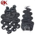 Peruvian Virgin Hair Body wave 4 Bundles with 3 way part lace closure 5pcs Lot Unprocessed Human Hair Weave Extensions Body Wave