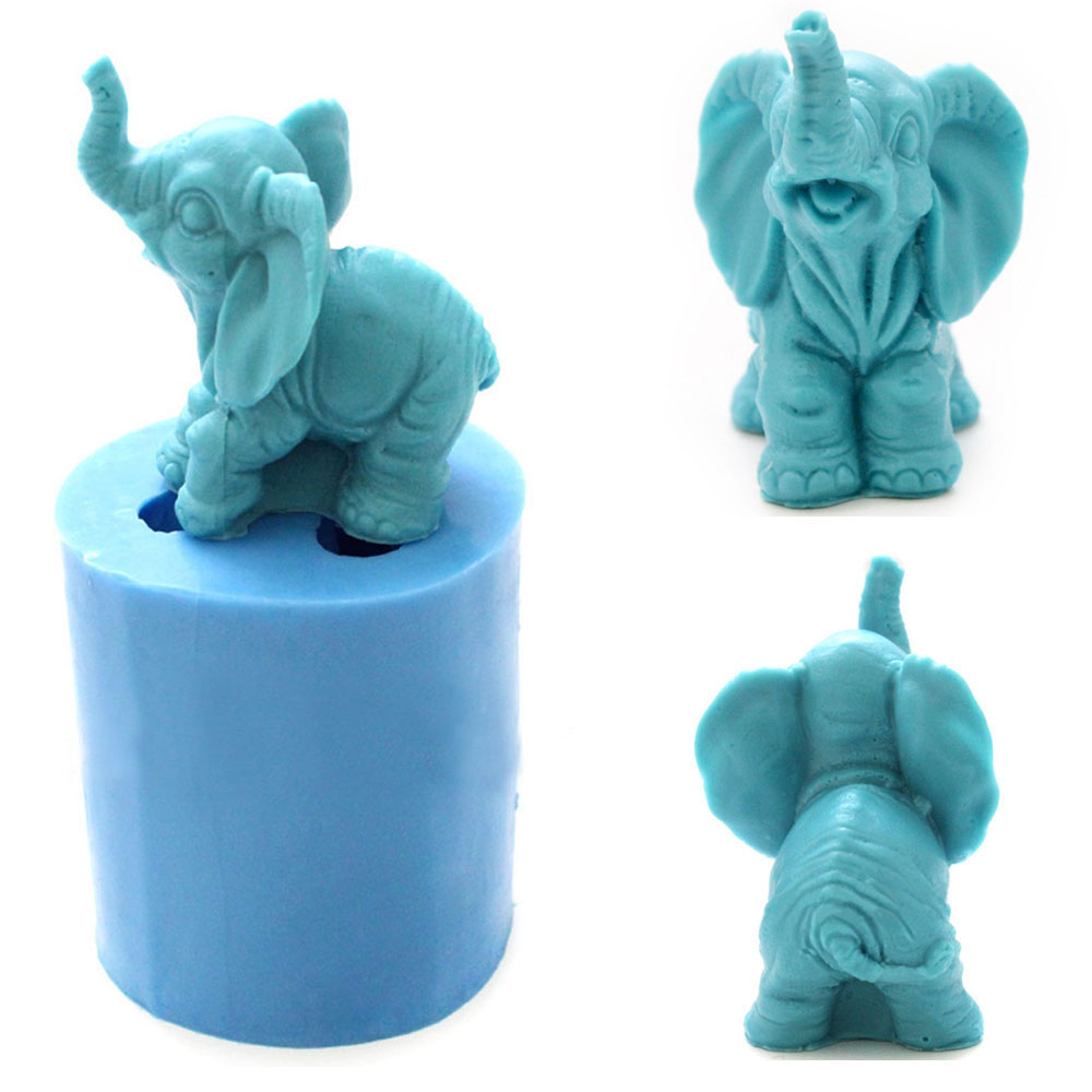 Grainrain 3D Lovely Elephant Soap Molds Silicone Soap Making Molds Candle Resin Mould