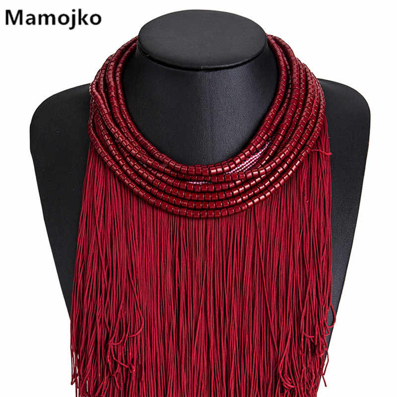 Mamojko Bohemian Exaggerated Tassels Pendant Beads Choker Necklaces For Women Fashion Fringe Collar Statement Necklace