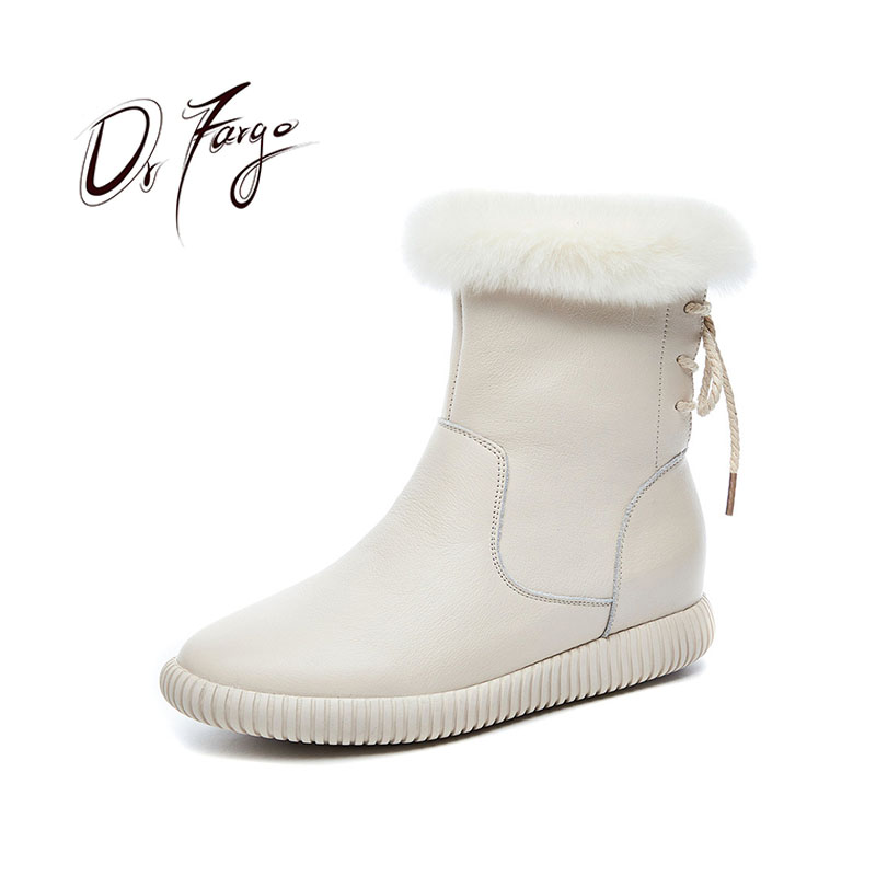 DRFARGO Shoes Women Winter Genuine Leather Snow Boots Real Rabbit Fur zipper Boots Top Ankle Boots Flatform white black size 40