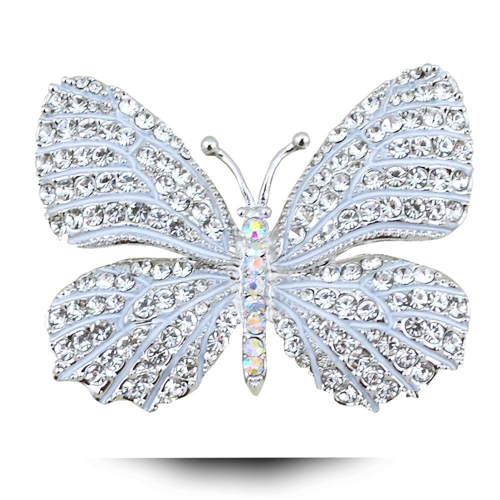 Nouveau Femmes insectes broches émail Cristal Perle Papillon Broche Pin Bijoux Cadeau