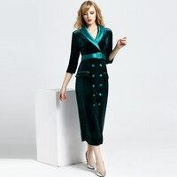 Velet 긴 드레스 여성 우아한 디자인 패치 워크 V 넥 슬래시 분기 소매 2 색 파티 드레스 새로운 패션 스타일 2018