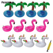 12PCS Coconut Tree/Flamingo/ Unicorn Drink Holders Pool Accessories Inflatable Float Swimming Rings Hawaii Beach Party Kids Toys