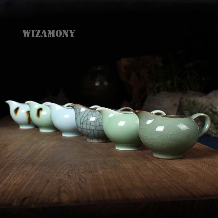 1vnt Kinijos Longquan Celadon Crackle glazūros rankų darbo mugės puodelis 145ml teisingumo taurės arbatos arbatos taurės Kung Fu arbatos rinkinys
