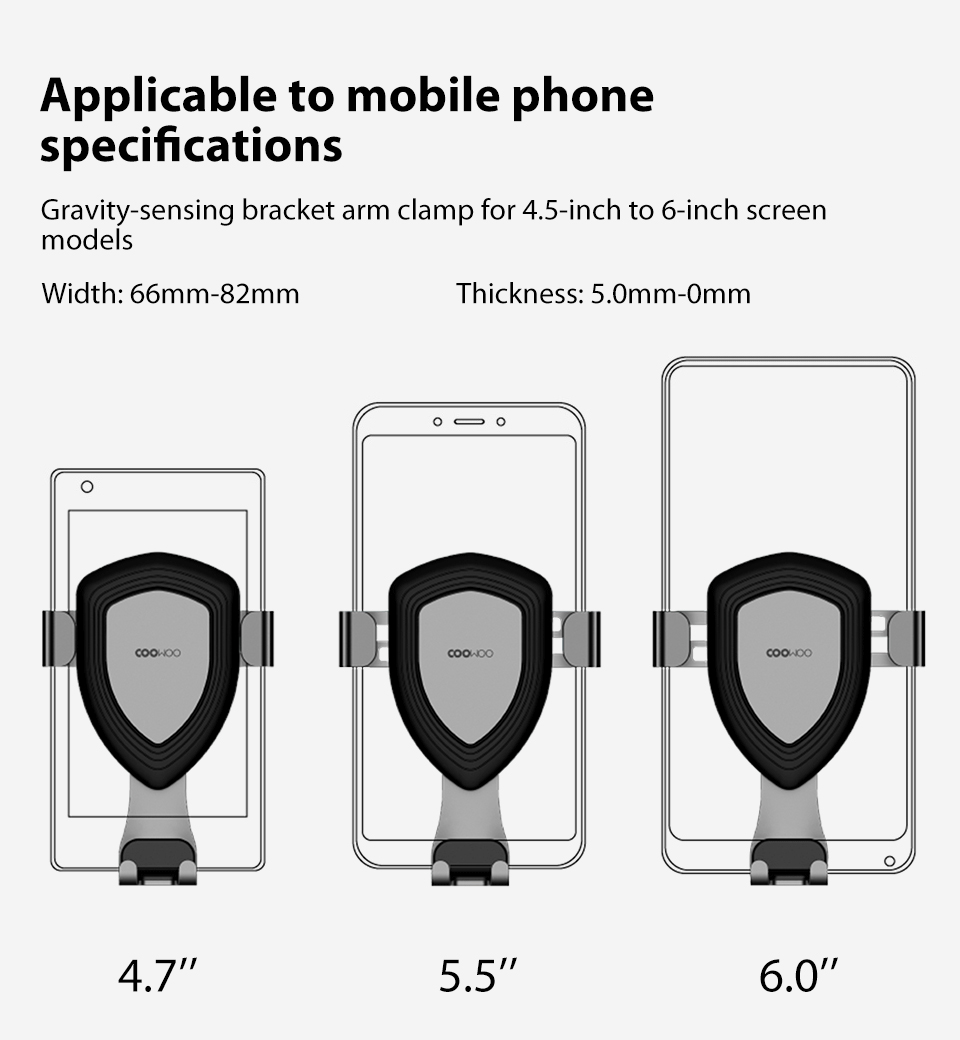 Xiaomi Mijia COOWOO Smart Car Bracket with Gravity Sensor One-handed Operation Multi-device Compatible Air Outlet Clip Holder (11)
