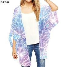 KYKU Brand Psychedelic Loose Kimono Women Colorful Ladies Shawl Galaxy Space Kimono Cardigan Fireworks Print Cardigans Gothic Se
