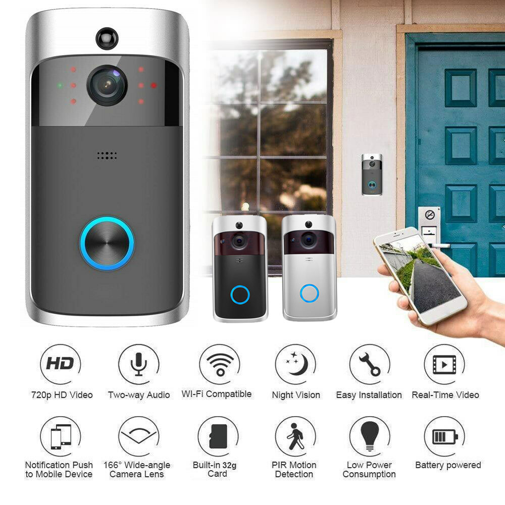 WiFi Doorbell Smart IP Video Intercom Call Camera Door Bell App Control Smart Home Apartment IR Alarm Wireless Security Camera image