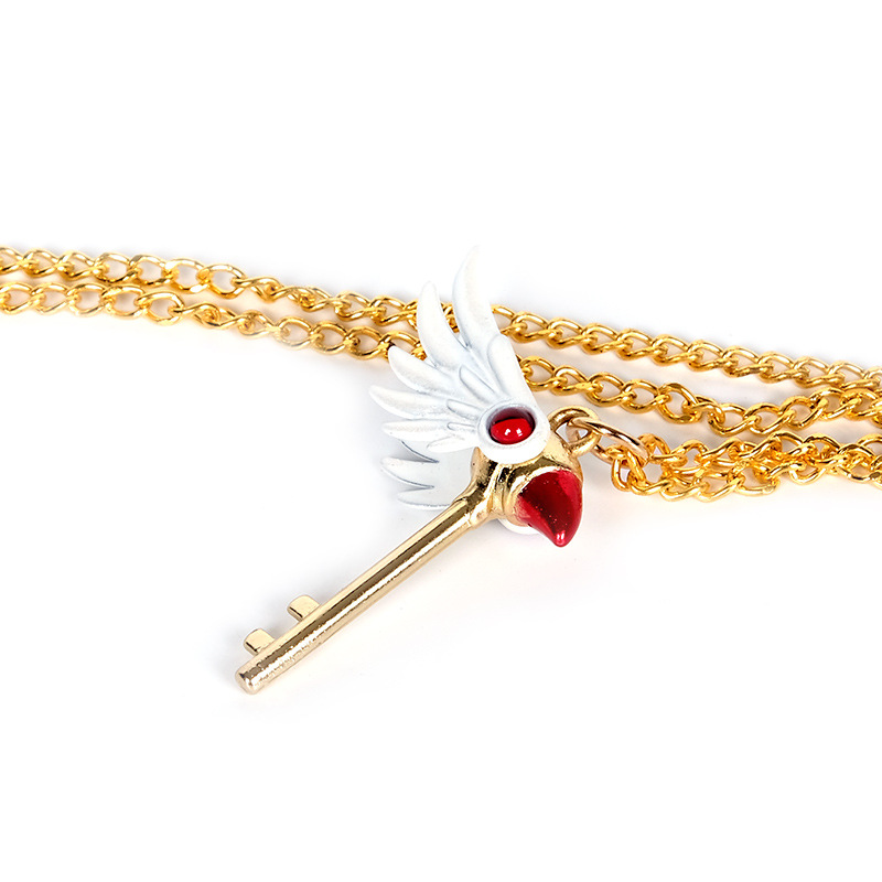Fashion Anime Card Captor Sakura Keychain Magic Staff Keyring Gift Cosplay Prop
