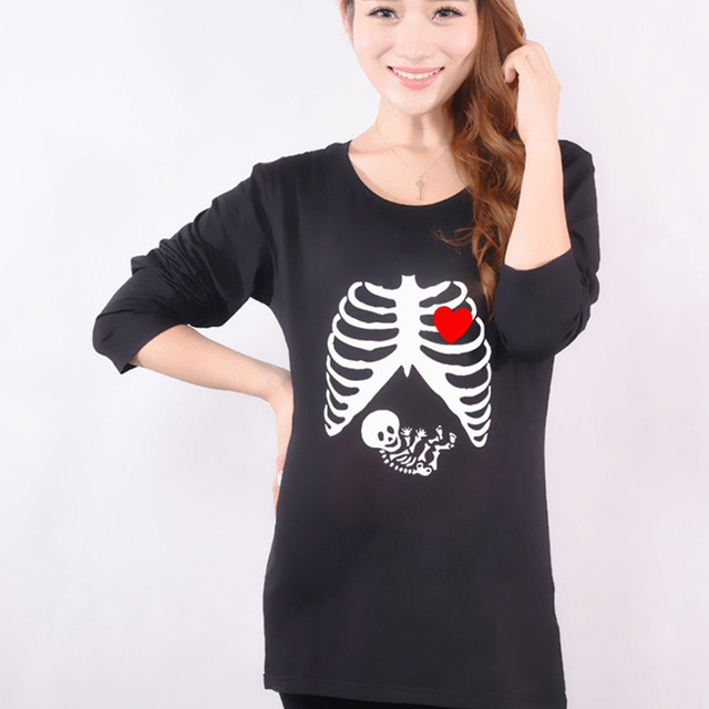 Hot Maternity Funny Skull Shirts Plus Size Long Sleeve Red Cotton Tops Tees Clothes For Pregnant Women Pregnancy Wear Clothing