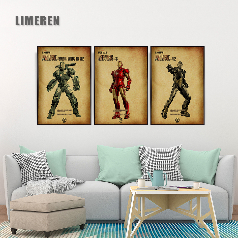 Avengers Iron Man Mark 1 Mark 3 Print Canvas Poster Movie Hero Wall Art Pictures Print Paintings For Unique Gift Home decor in Painting Calligraphy from Home Garden