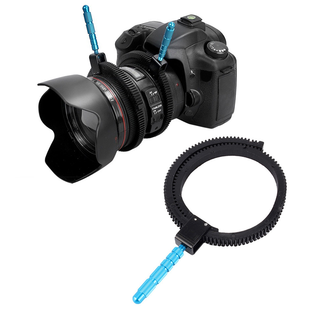 For SLR DSLR Camera Accessories Adjustable Rubber Follow Focus Gear Ring Belt with Aluminum Alloy Grip for DSLR Camcorder Camera(China)