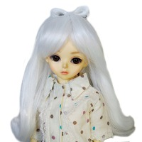 [wamami] 97# White Long Wave Wig With Bowknot For 1/3 SD DOD DZ BJD Dollfie 8 9