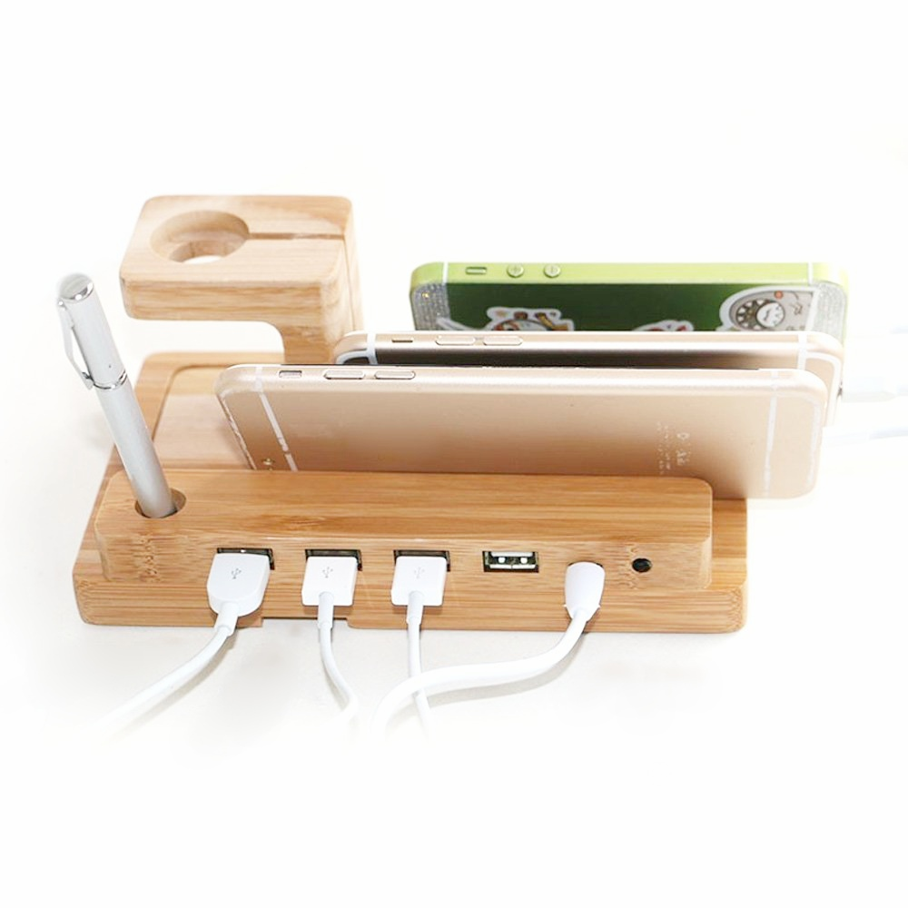 wood stand show 4 usb