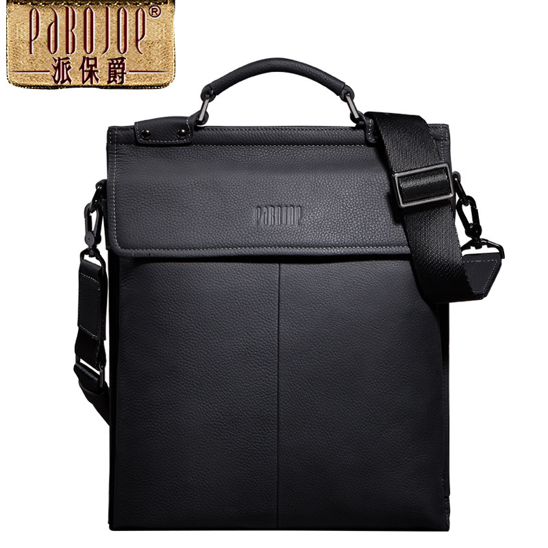 100% Genuine Leather Pabojoe brand Casual Men Messenger Bag Two-color stitching Shoulder Bag cow leather handbag bolsa feminina cow leather shoulder bag brand new 2018 messenger bag women genuine leather bolsa feminina free shipping two shoulder straps