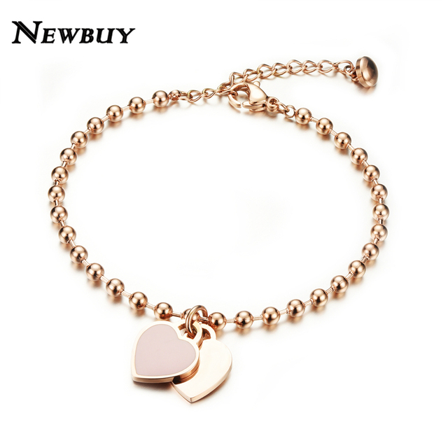 NEWBUY Hot Sale Fashion Women Party Jewelry Rose Gold-color Double Heart Pendant Bracelet Female Bead Chain Charm Bracelet