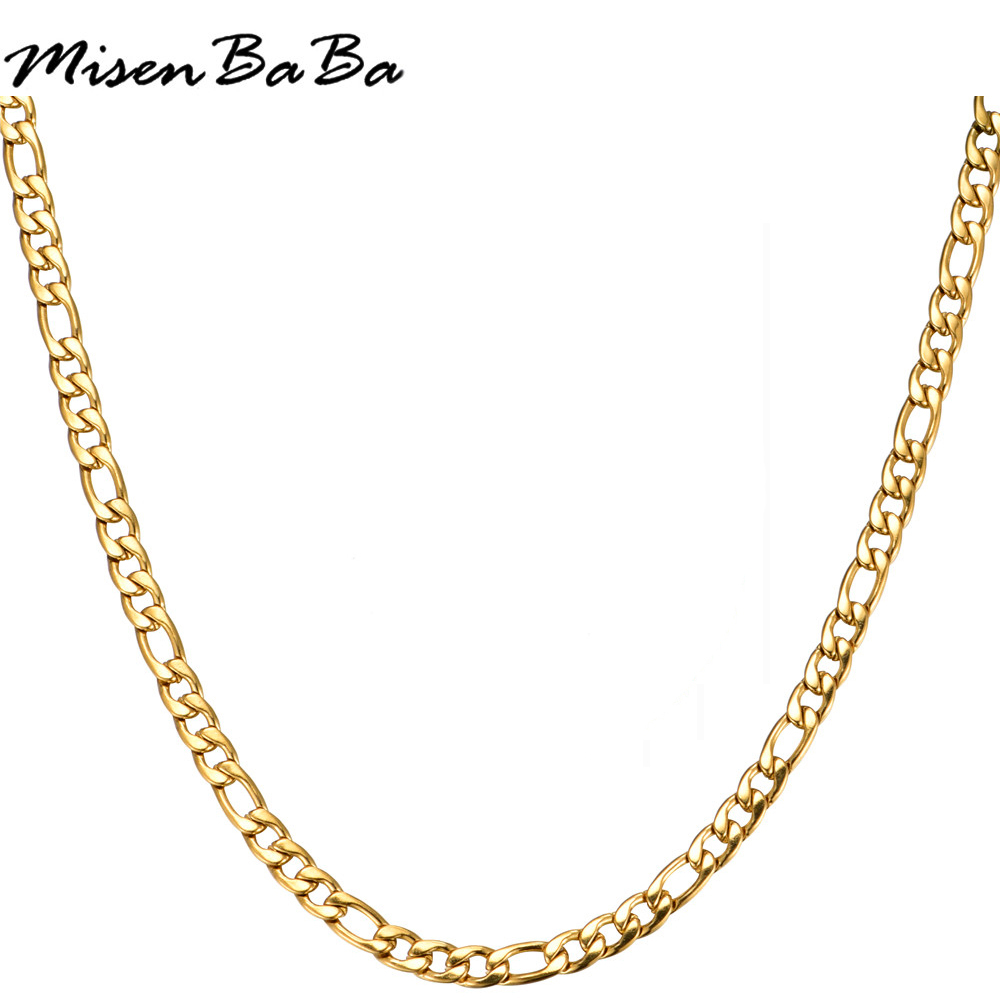 60CM Figaro Punk Style Link Chain Stainless Steel Gold Silver Color Fashion Necklace Choker For Men Exquisite Male Gift Jewelry