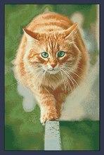 GRATIS Verzending Top Kwaliteit populaire geteld kruissteek set kat lopen atleet model geel kitty kitten