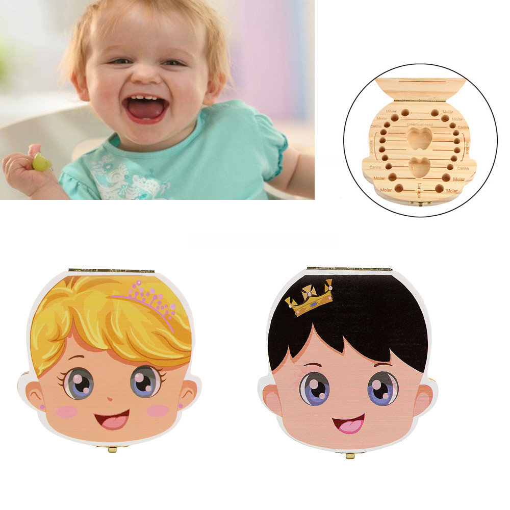 Hot 11*12*4cm Tooth Box Organizer for Baby Milk Teeth Save Wood Storage Box for Kids Boy&Girl Safety Cute Cartoon Kids Gift Toy