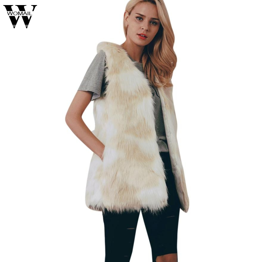 2017 jacket Women Faux Fur Ladies Sleeveless Vest Waistcoat Jacket Gilet Shrug Coat Outw ...