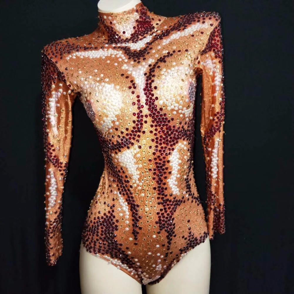 Ds Grande Brillant Discothèque Justaucorps Étendue Costume Danse Strass Chanteuse De Tenue Ab Orange Body Perles Sexy Scintillant rtshCxdBQ