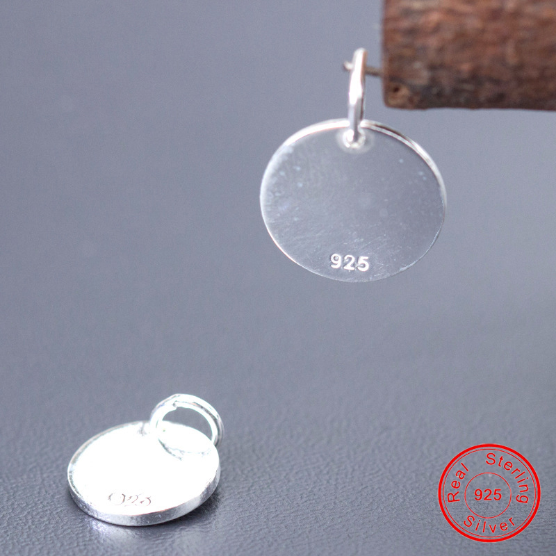 UQBing Simple 10MM 12MM Glossy Round Coin 925 Sterling Silver Charms Pendant Women DIY Jewelry Findings  Wholesale