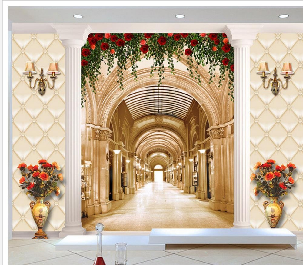 European-style hall corridor rose flower vase background wall living 3d wallpaper decorative brick wall  free shipping european 3d relief murals aisle porch corridor classical style wallpaper rich tree rose vase mural