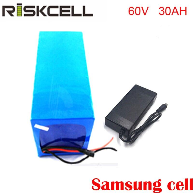 Diy 60 v 30ah recarregável bicicleta elétrica da bateria BMS 50A 60 v bateria com o carregador de bateria Para celular Samsung