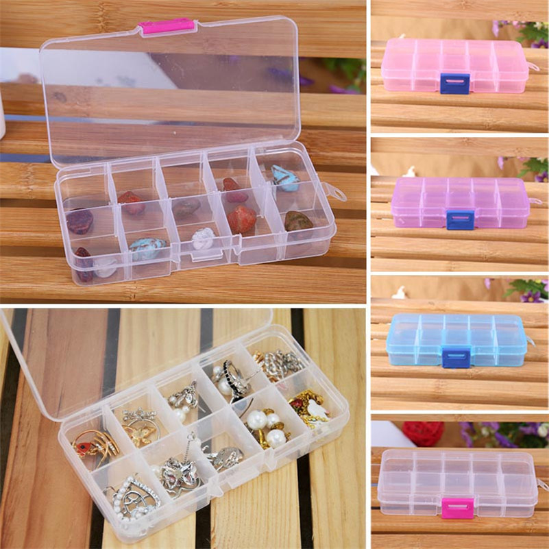 Hot 10 Grids Adjustable Storage Box Jewelry Beads Pills Nail Art Tips Plastic Case Craft Organizer Eco-Friendly Free shippiing