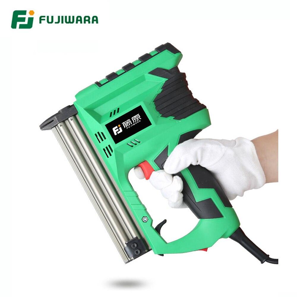 FUJIWARA Electric Nail Gun Professional F30 Straight Nailing Tool Pneumatic Nail Gun Fast Continuous Shooting Woodworking