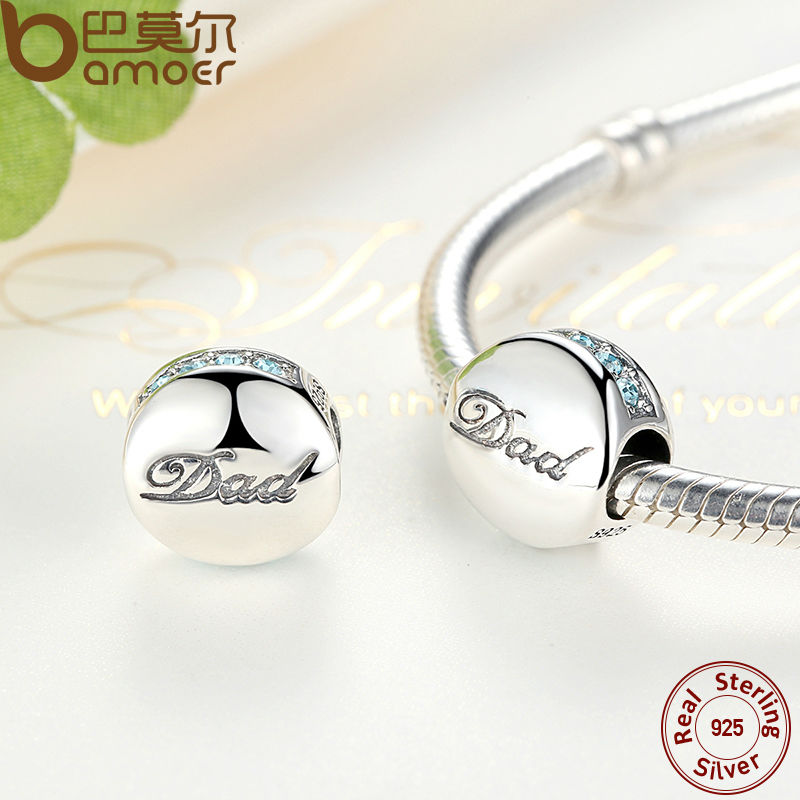 BAMOER Asli 925 Sterling Silver Kristal Biru Ayah Charm Fit Gelang - Perhiasan fashion - Foto 2