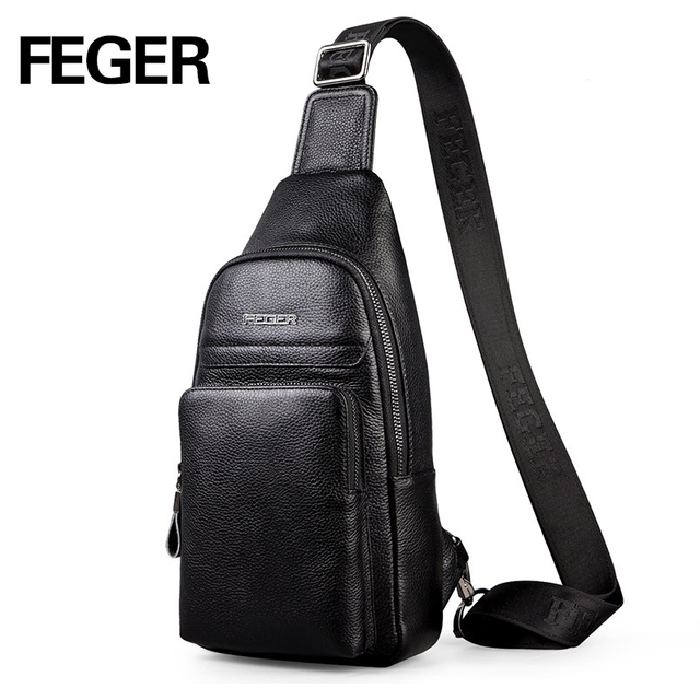ba0c7c2da9 2018 FEGER fashion genuine leather sling bag men casual travel chest pack  solid cowhide crossbody bag free shipping